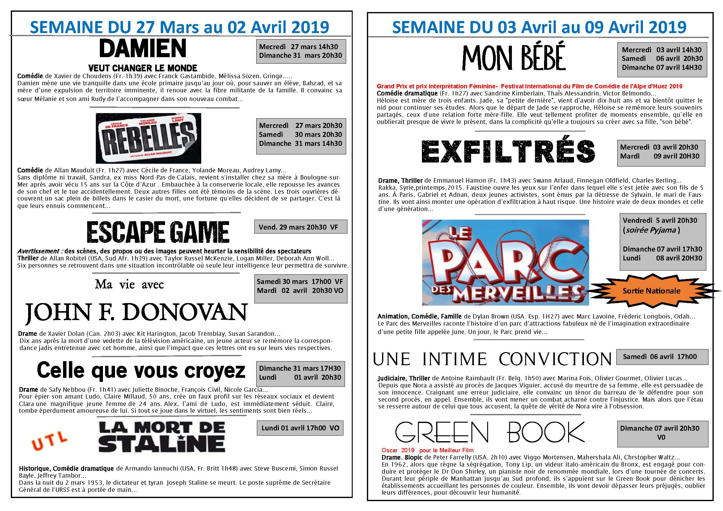 Programme du cinema du 27 mars au 16 avril