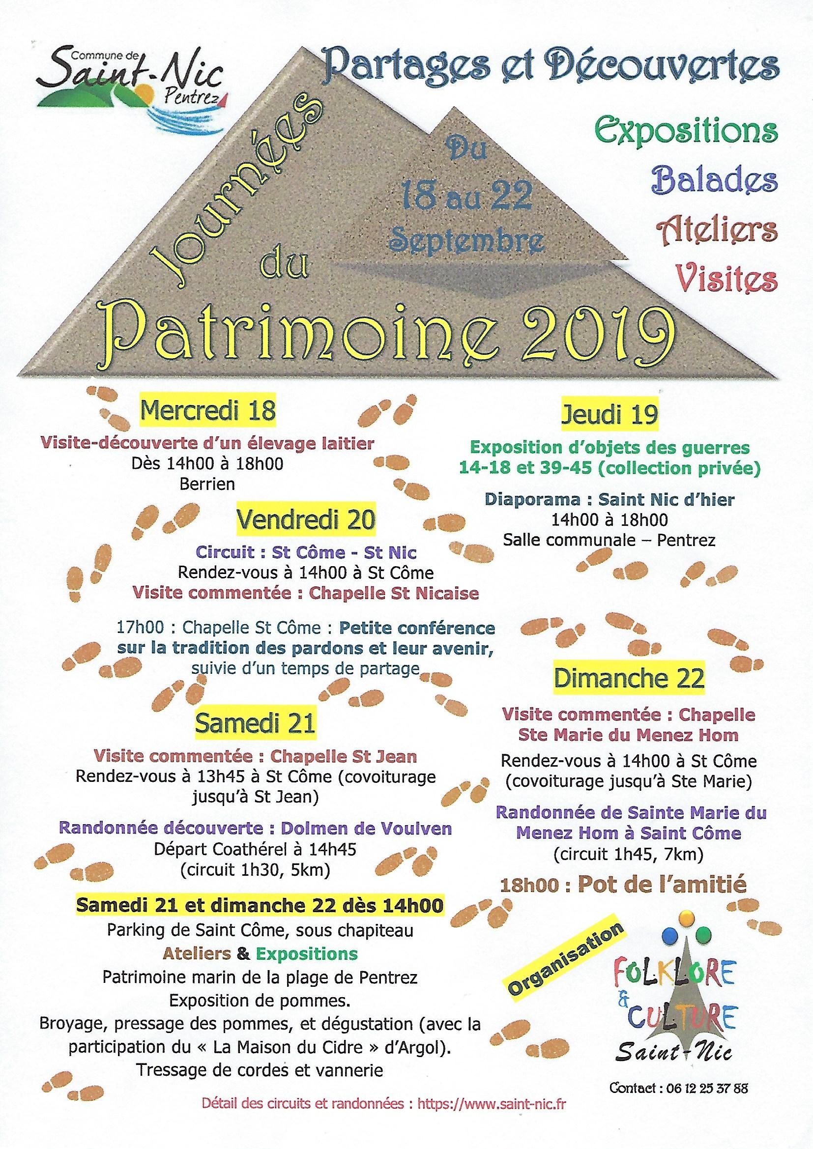 Journées Européennes du Patrimoine - Exposition d'objets des guerres 14-18 et 39-45 et diaporama Saint-Nic d'Hier
